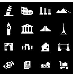 white landmarks icon set vector image vector image