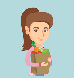 woman holding shopping bag with healthy food vector image vector image