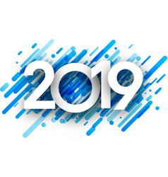 2019 new year background with blue strokes vector image