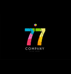 77 number grunge color rainbow numeral digit logo vector image