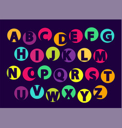 abc letters color font sample isolated on black vector image