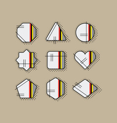 Abstract retro pop art geometrical stripe icon set vector