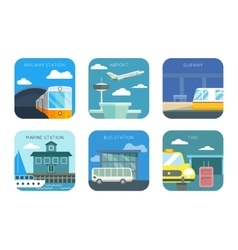 Airport railway and marine station bus or taxi vector