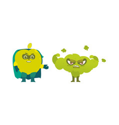 apple and broccoli hero superhero characters vector image