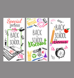 Back to school flyer set vector