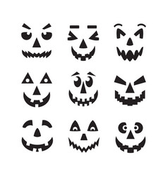Black cool isolated halloweenpumpkin faces icons vector