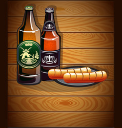 Bottles of beer and sausages vector