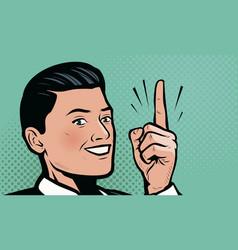 businessman shows index finger up retro comic pop vector image