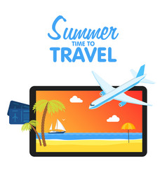 Buy air tickets traveling on airplane planning vector
