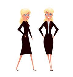 Cartoon businesswoman standing and walking blonde vector