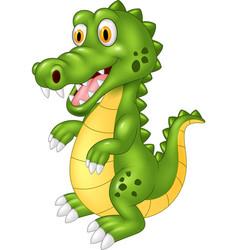 cartoon happy crocodile vector image