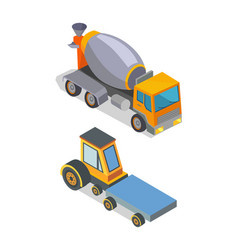 Cement mixer and transporting machinery icons vector