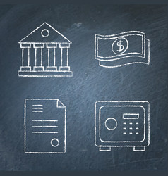 chalkboard banking and money icon set in line vector image