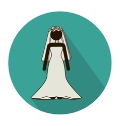 Circular shape with pictogram of bride with vector