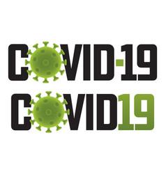 Covid-19 logo with virus molecule vector
