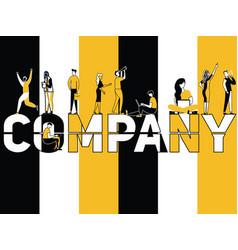 creative word concept company and people doing vector image