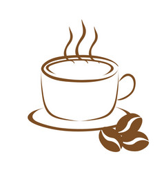 cup of coffee and coffee beans vector image