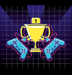Cup trophy video gamer retro with controls vector