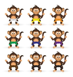 cute chimpanzee set with karate training color vector image