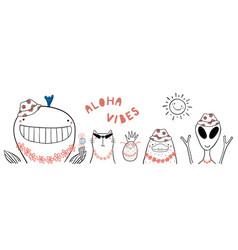 Cute summer animals vector