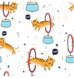 Cute tiger seamless pattern hand drawing vector