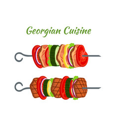 Doner kebab skewers - fried meat georgian cuisine vector