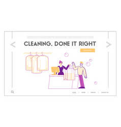 Dry cleaning landing page template female vector