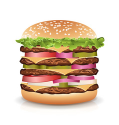 fast food realistic burger big burger icon vector image