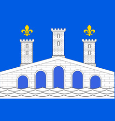 Flag of villeneuve-sur-lot in lot-et-garonne of vector