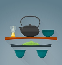 flat matcha tea ceremony icon vector image