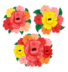 Flower set rose and hibistus isolated on white vector
