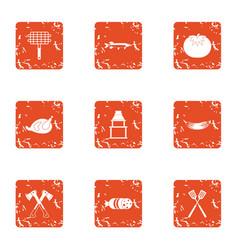 Forest public garden icons set grunge style vector