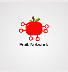 fruit network logo icon element and template vector image