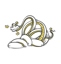 Funny and friendly cartoon snake with butterflies vector