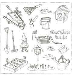 Garden tools doodle set Various equipment and vector image