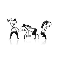 girls doing sport exercises sketch for your vector image