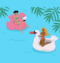girls in pool on inflatable flamingos and vector image
