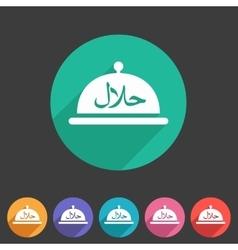 Halal food platter dish meal icon sign symbol logo vector