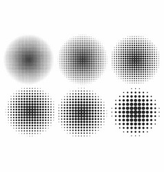 halftone effects set monochrome dots in circles vector image