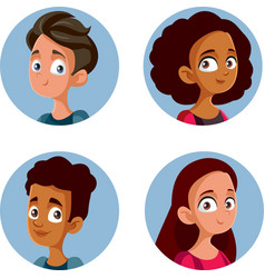 Happy diverse teenagers avatars set vector