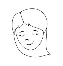 happy woman with long hair icon image vector image
