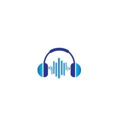 headphones with music beats headset logo design vector image