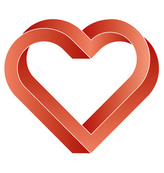 Impossible twisted red heart icon vector