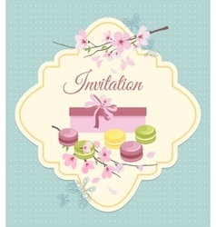 Invitation card to tea party with flowers and vector