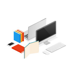isometric computer laptop office flat vector image