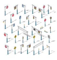 isometric semaphore streetlight set vector image