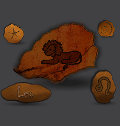 leozodiac in the form of cave painting vector image