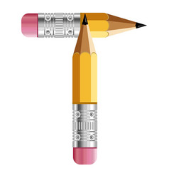 letter t pencil icon cartoon style vector image