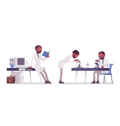 Male black scientist working vector