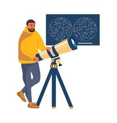 Man looks through telescope cartoon male studying vector